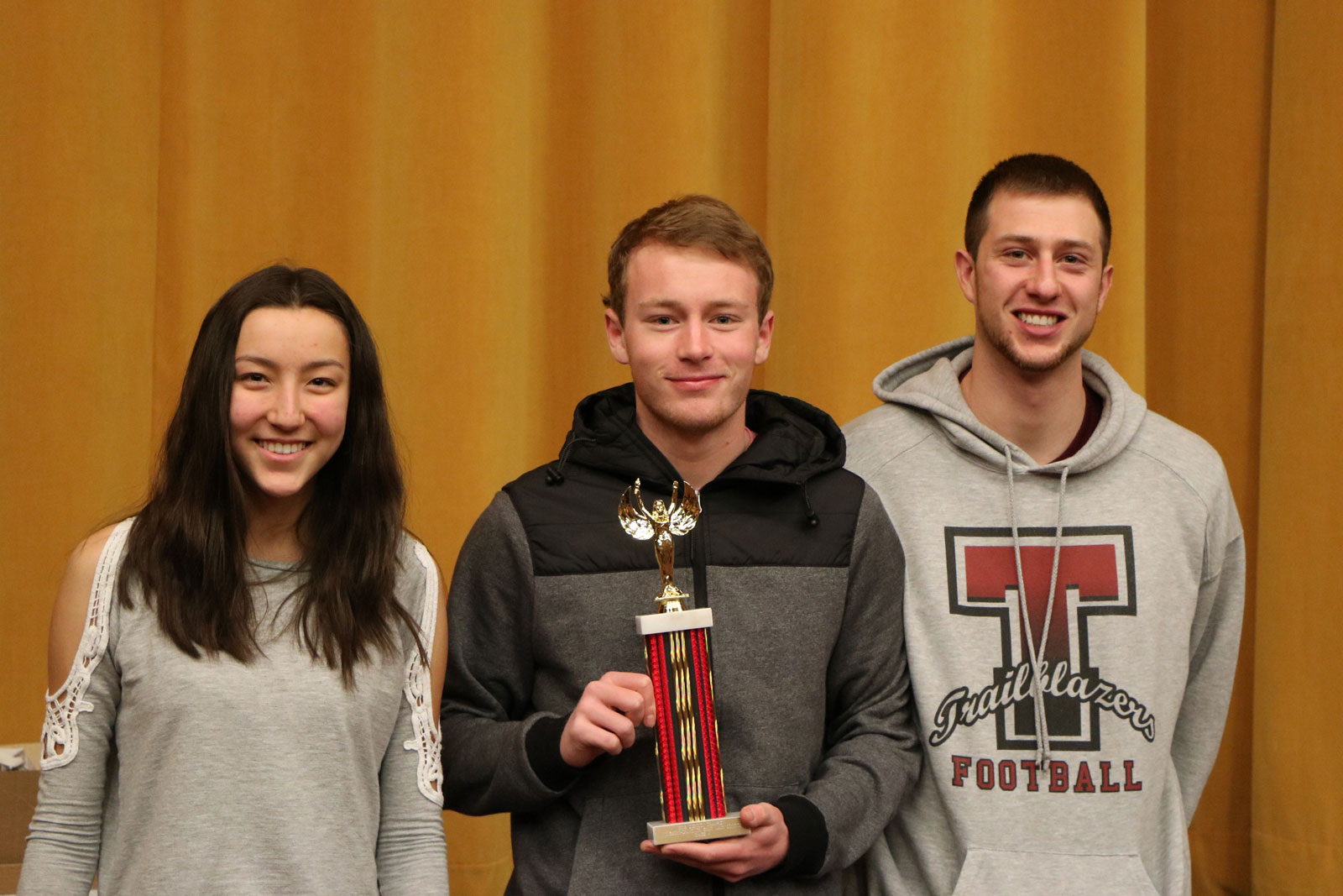 Top School Torrington High School for grades 11 and 12 - Left to right: Emi Glass, Ethan Creagar, Ryan Johnson total scores of 1,360