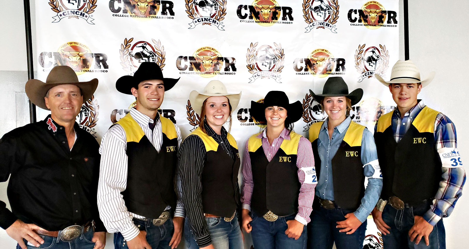 The Eastern Wyoming College Lancer rodeo students who qualified for the College National Finals Rodeo in Casper