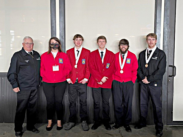 Left to right: Stan Nicolls, SkillsUSA sponsor, Bailey Martin, Cody Shrewsbury, Nathan Ostrander, Trevor Sorg, and Trent Taylor